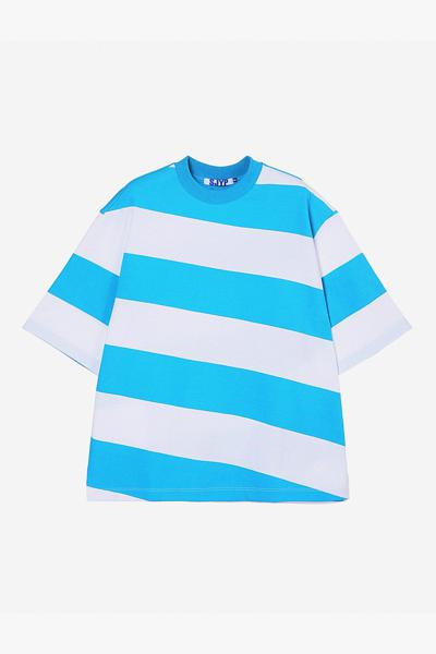 면 오버핏 스트라이프 티셔츠