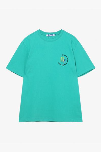 면 엠브로이드 레터링 반소매 티셔츠