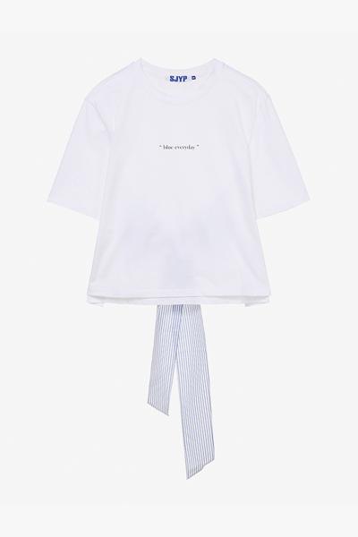 면 백타이 반소매 티셔츠