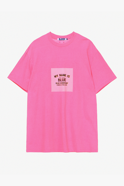 면 오버핏 네온 그래픽 티셔츠