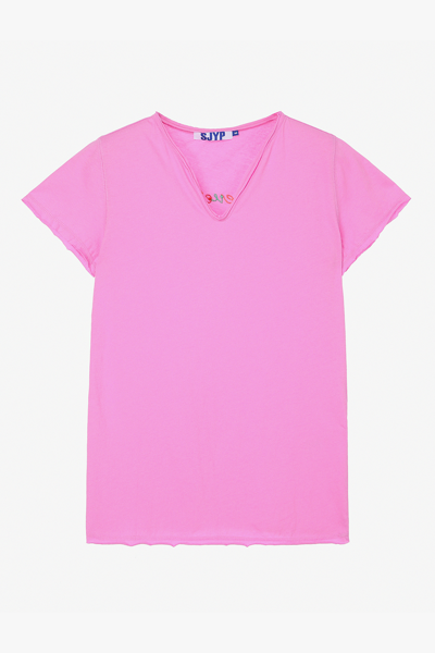 면 백 레터링 브이넥 티셔츠