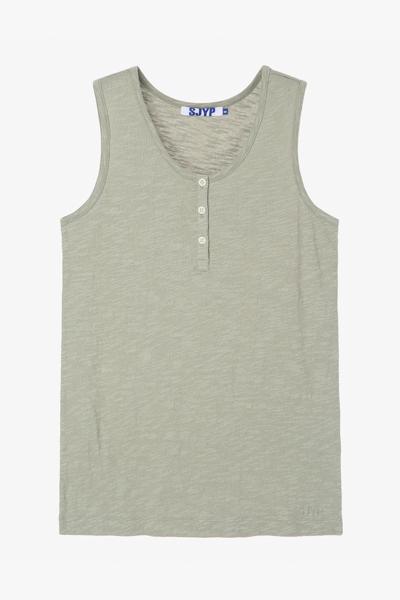 버튼 슬리브리스 티셔츠