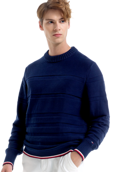면혼방 스트라이프 긴소매 스웨터