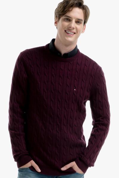 울 케이블 크루넥 스웨터
