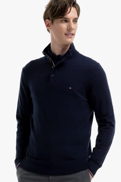 면혼방 버튼 모크넥 스웨터