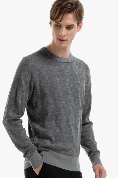 면혼방 아가일 크루넥 스웨터