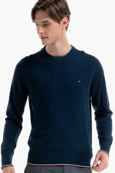 코튼 티핑 크루넥 스웨터