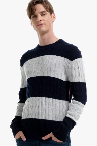 나일론혼방 스트라이프 케이블 긴소매 스웨터