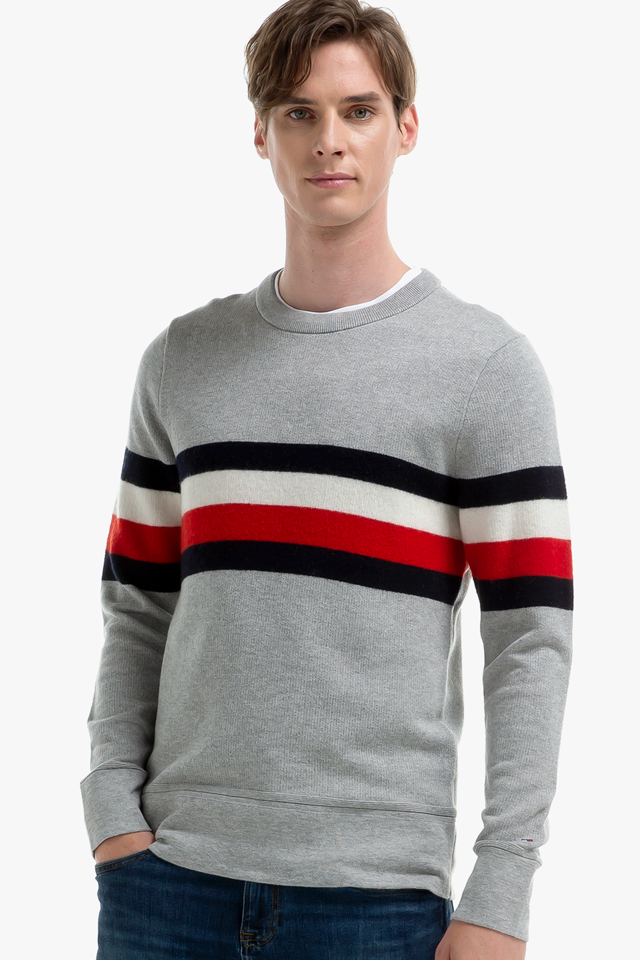 면혼방 스트라이프 크루넥 스웨터