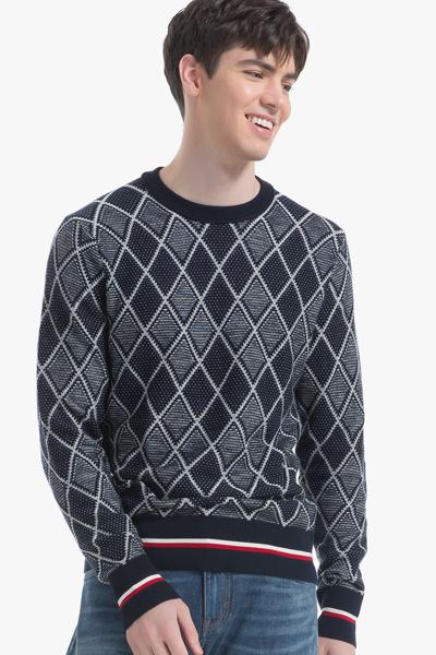 면혼방 아가일 긴소매 스웨터