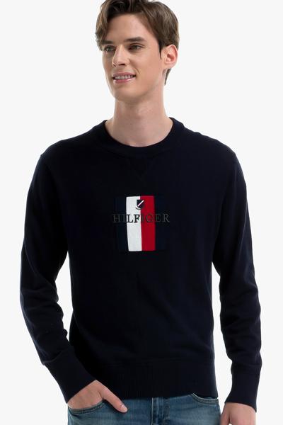 면혼방 플래그 로고 크루넥 스웨터