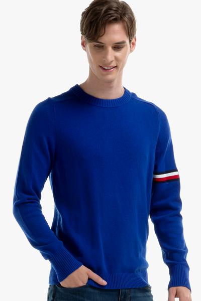 나일론혼방 스트라이프 로고 크루넥 스웨터