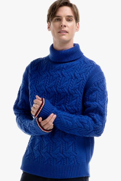 울혼방 스트라이프 터틀넥 스웨터
