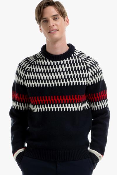 울혼방 페어아일 크루넥 스웨터