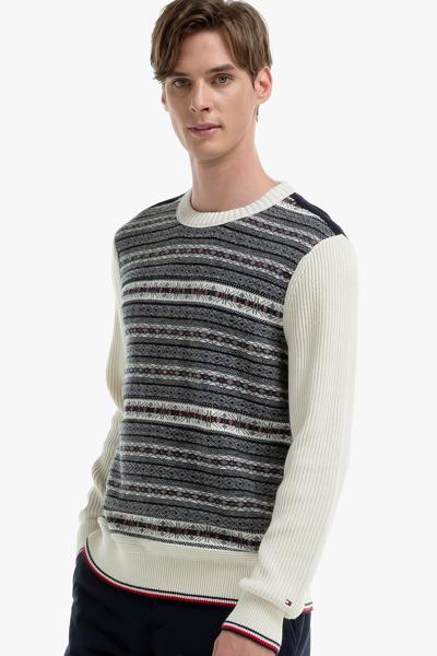 면혼방 페어아일 크루넥 스웨터