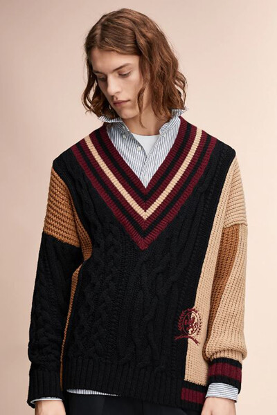 울혼방 컬러블록 브이넥 크리켓 스웨터