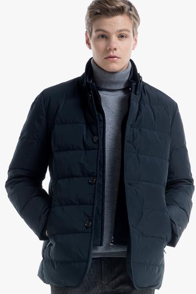 폴리 블레이저핏 퀼팅 구스다운 자켓