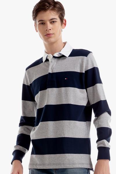 코튼 스트라이프 긴소매 럭비 티셔츠