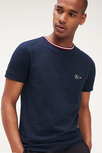 면혼방 로고 반소매 티셔츠