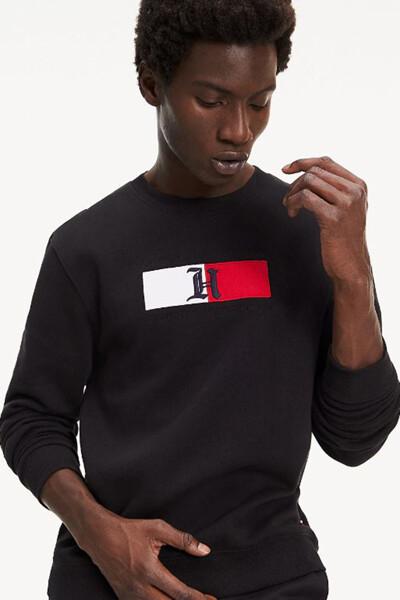 면혼방 플래그 크루넥 맨투맨 티셔츠