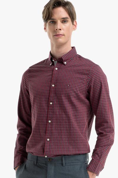 코튼 슬림핏 깅엄 체크 셔츠
