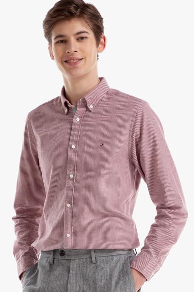 면혼방 슬림핏 스트라이프 헤링본 셔츠