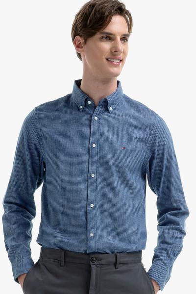 코튼 슬림핏 체크 셔츠