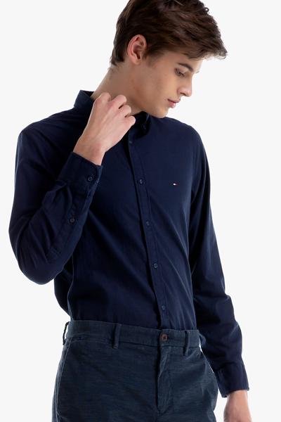 면혼방 슬림핏 헤링본 셔츠