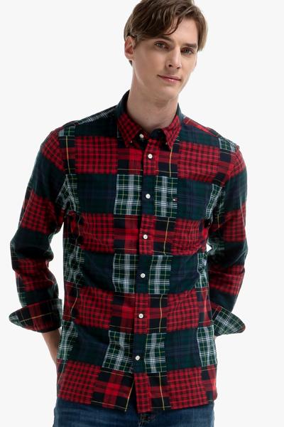 코튼 패치워크 긴소매 셔츠