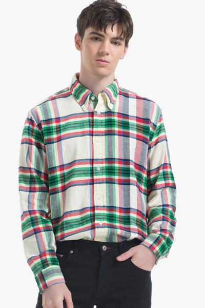 코튼 릴렉스핏 체크패턴 셔츠