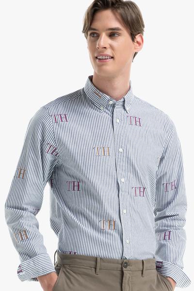 코튼 스트라이프 로고 긴소매 셔츠