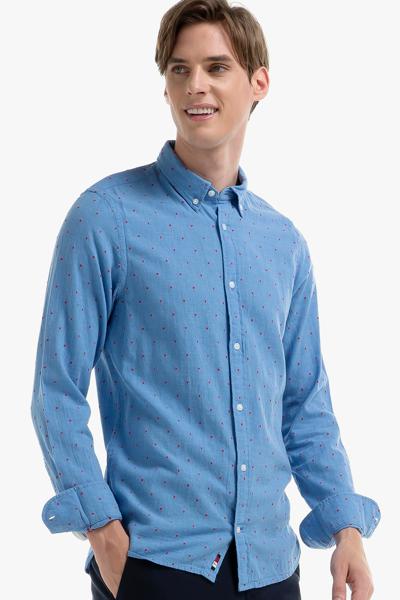 코튼 슬림핏 도트 셔츠