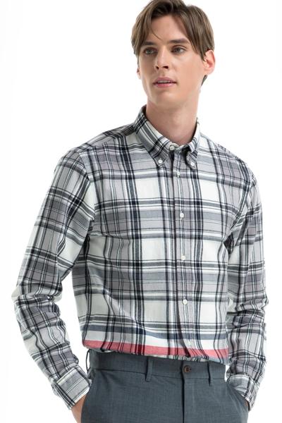 코튼 체크 긴소매 셔츠