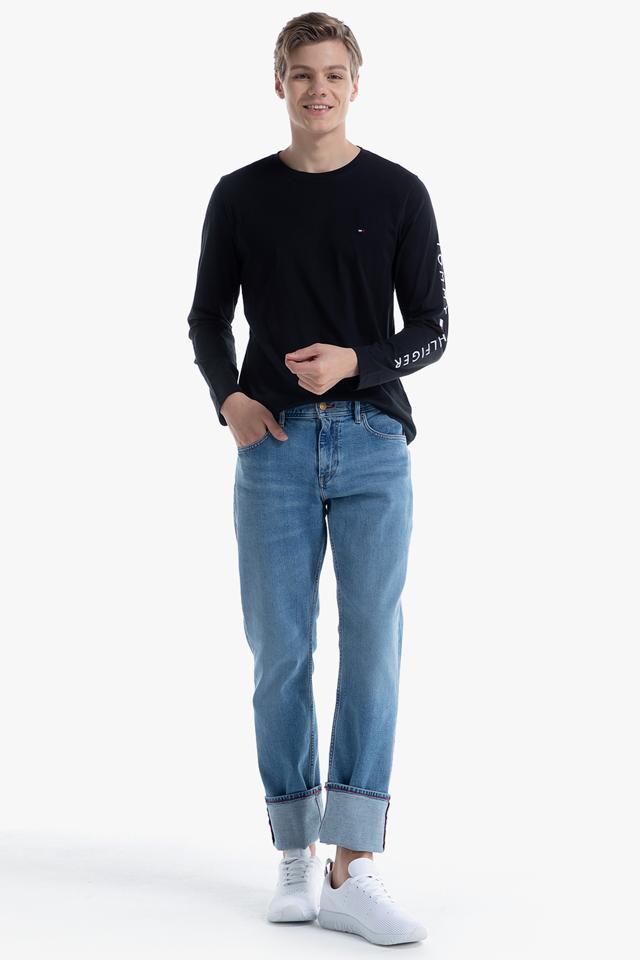 코튼 로고 긴소매 티셔츠
