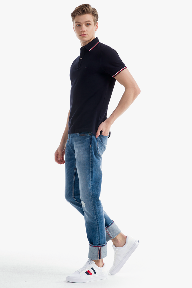 코튼 슬림핏 티핑 티셔츠