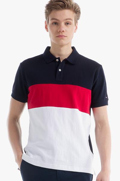 코튼 컬러블록 폴로 티셔츠