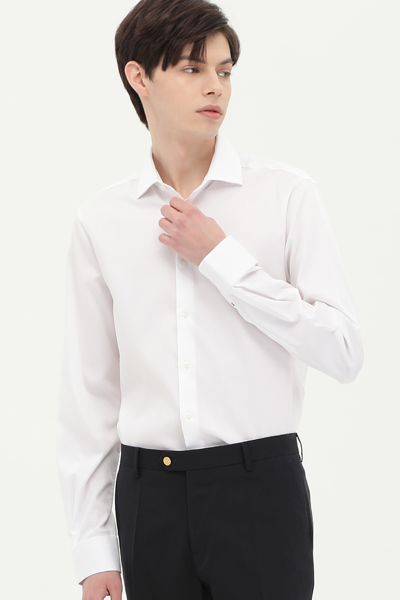 면혼방 슬림핏 핀스트라이프 드레스 셔츠