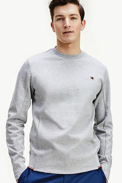 면혼방 플래그 자수 긴소매 스웻 티셔츠