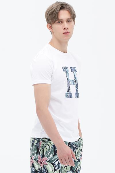 코튼 레귤러핏 프린팅 로고 티셔츠