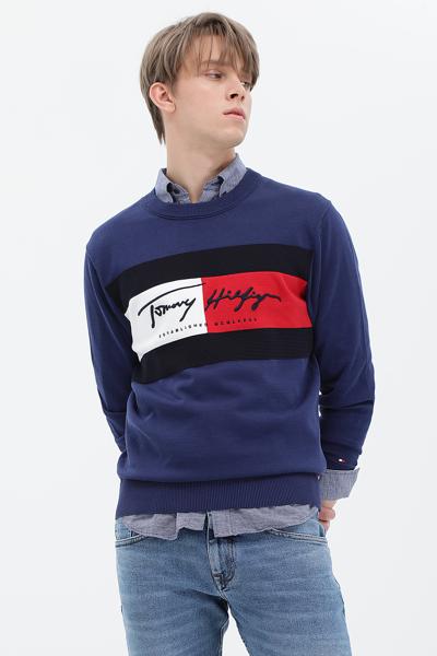 코튼 오버핏 플래그 스웨터