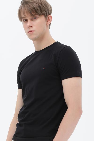 면 혼방 슬림핏 솔리드 티셔츠