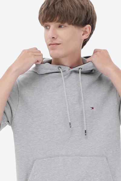 코튼 오버핏 테이프 숏 슬리브 후드 티셔츠