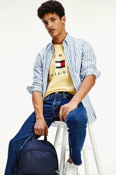 코튼 레귤러핏 플래그 티셔츠