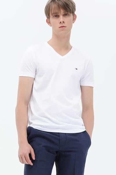 코튼 로고 브이넥 티셔츠