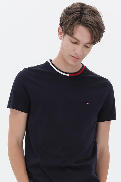 코튼 플래그 라운드넥 반소매 티셔츠