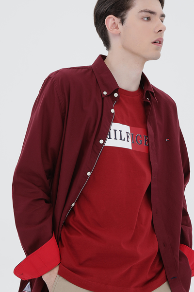 코튼 루즈핏 플래그 옥스퍼드 셔츠