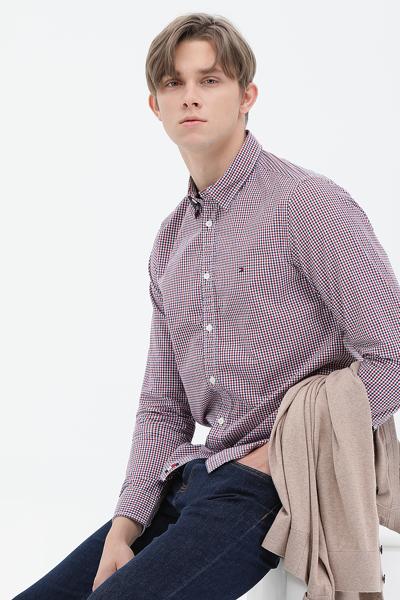코튼 깅검체크 긴팔 셔츠