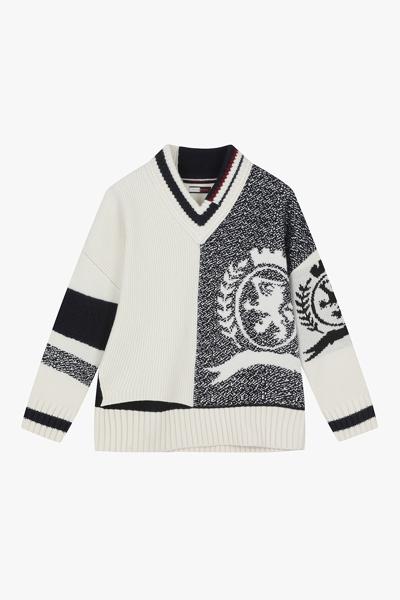 울 루즈핏 크레스트 스웨터