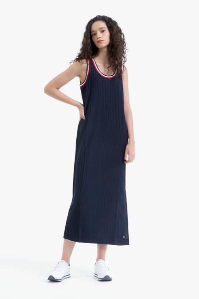 비스코스혼방 오픈넥 민소매 드레스