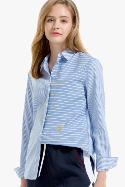 코튼 레귤러핏 멀티 스트라이프 셔츠
